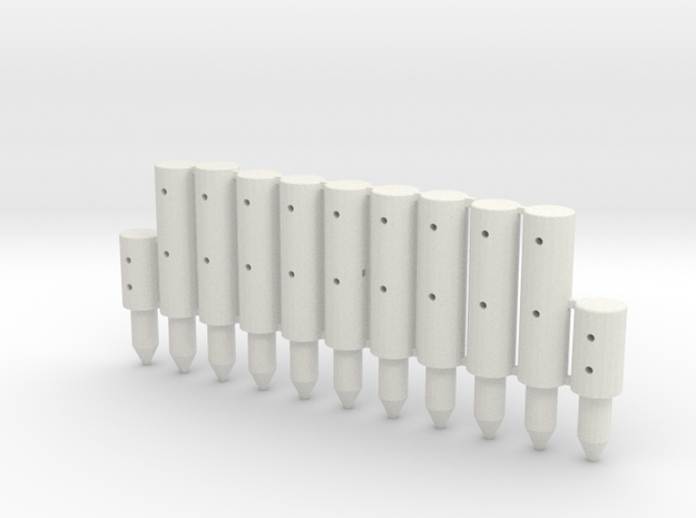 BP2-11, Round Cable Barrier Posts, 11 pcs in White Strong & Flexible