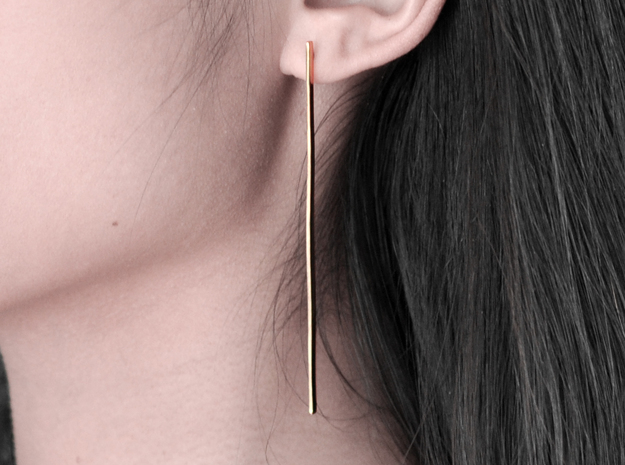 Line earrings in 14k Gold Plated Brass