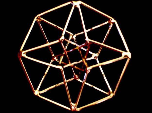 Sacred Geometry: Toroidal Hypercube 50mmx1.5mm  3d printed Handmade Gold Plated Siver version (not Shapeways)