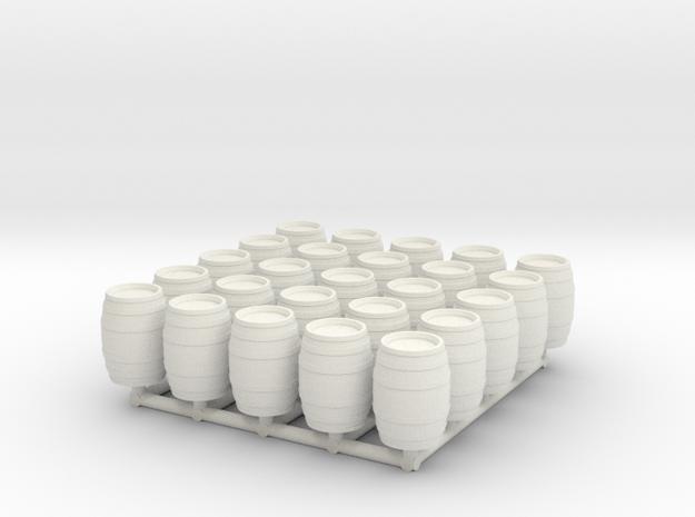 25pcs: N/OO Scale Wine Barrels in White Natural Versatile Plastic: 1:160 - N
