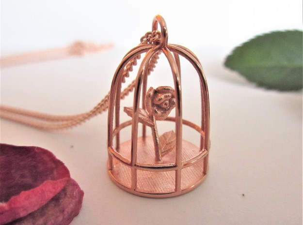 Beauty & the Beast inspired Rose In Cage Pendant in 14k Rose Gold Plated