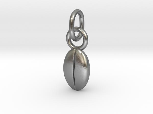Custom coffee bean initials charm in Interlocking Raw Silver