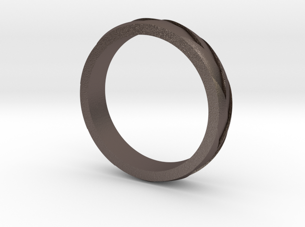 "Ring ""Profil"" in Polished Bronzed Silver Steel"