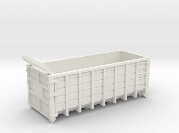 Steel Waste Container 01. HO scale (1:87) in White Natural Versatile Plastic
