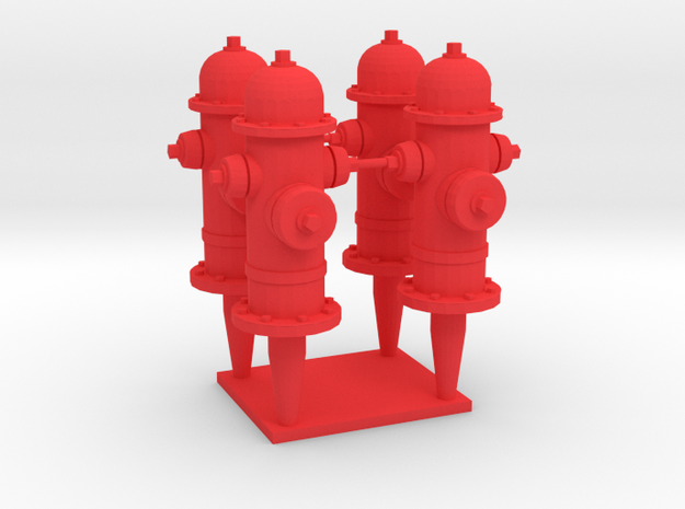 FH1, 1/32 Scale Classic  Fire Hydrants in Red Processed Versatile Plastic