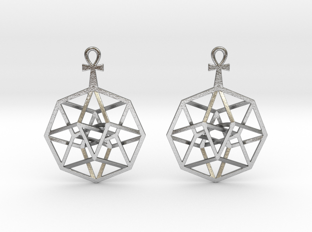 "TesserAnkh-earrings 1"" in Natural Silver"