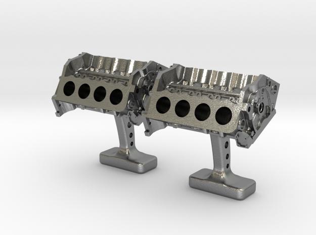 V8 Engine Cufflinks in Natural Silver