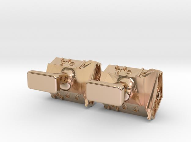 V8 Engine Cufflinks in 14k Rose Gold Plated