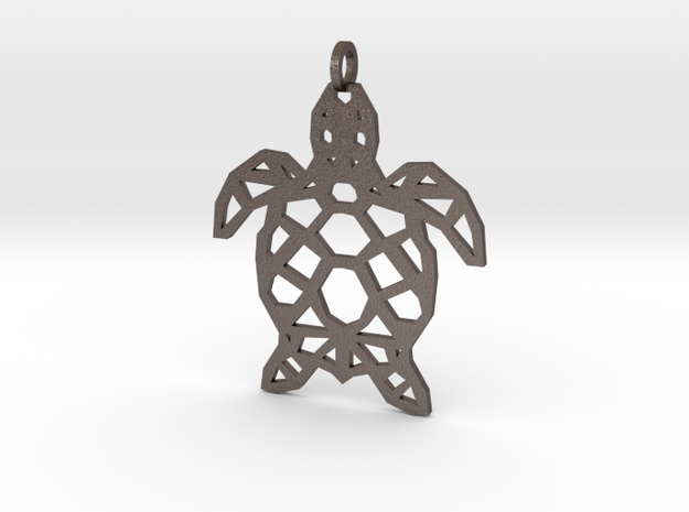 Geometric Turtle Necklace in Polished Bronzed Silver Steel