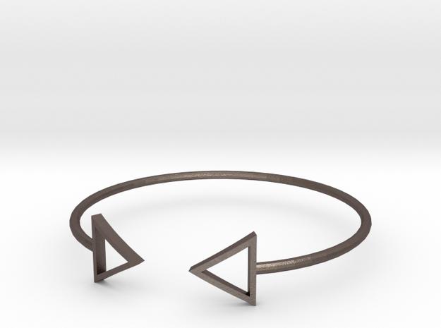 Arrow Around Bracelet S-L in Polished Bronzed Silver Steel: Small