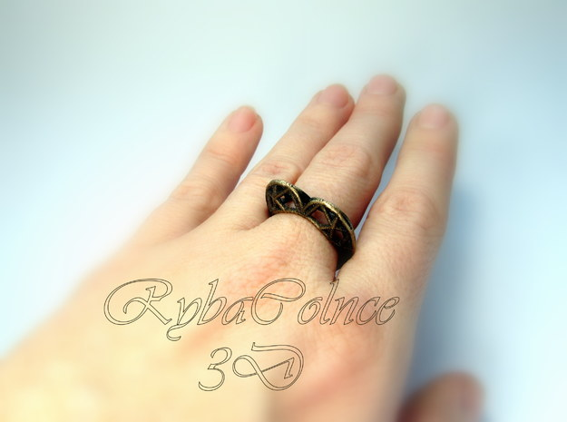 The  Heart ring size 7 1/2 US (17.75 mm) in Polished Bronze Steel