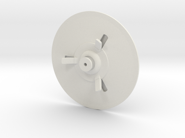 Flying Saucer 70mm in White Natural Versatile Plastic