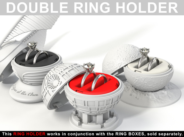 "DOUBLE RING HOLDER - To (*) ""ALL NEW RING BOXES"" in Red Strong & Flexible Polished"