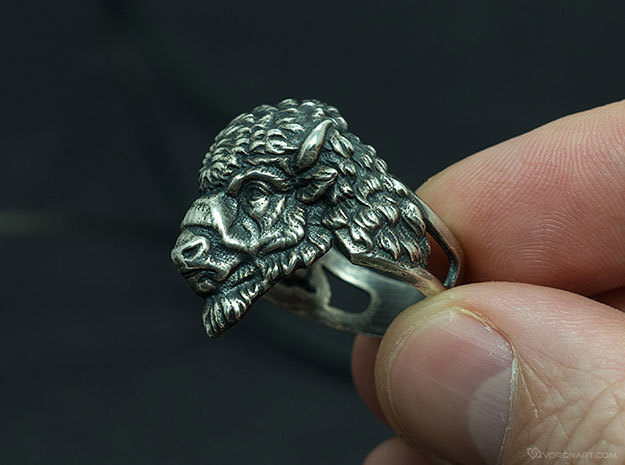 Bison Head Ring in Raw Silver: 11.5 / 65.25
