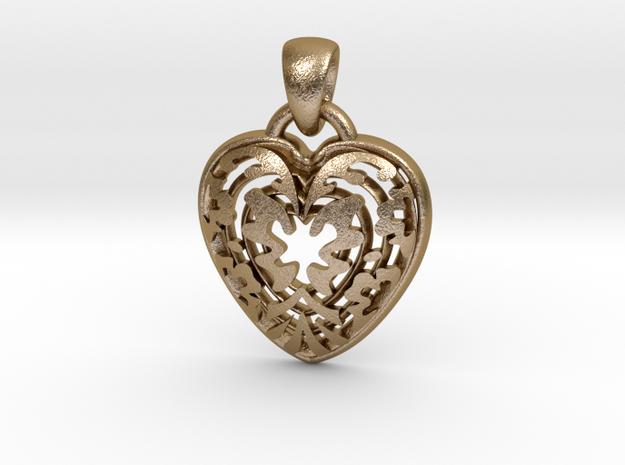 ButterFly Heart Pendant in Polished Gold Steel