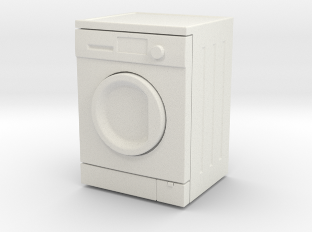 Washing Machine 01.  1:24 Scale in White Natural Versatile Plastic