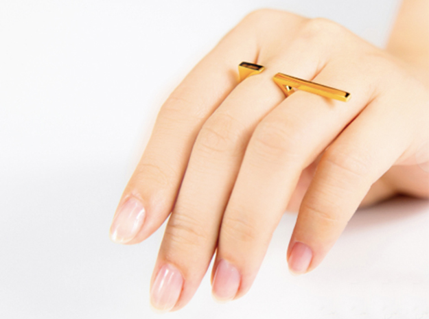 Long Ring in 14k Gold Plated Brass: 5.5 / 50.25