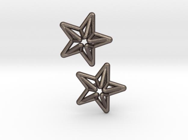 Star Cufflink in Polished Bronzed Silver Steel