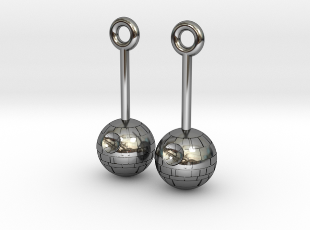 DeathStar earrings 8mm dimameter in Fine Detail Polished Silver