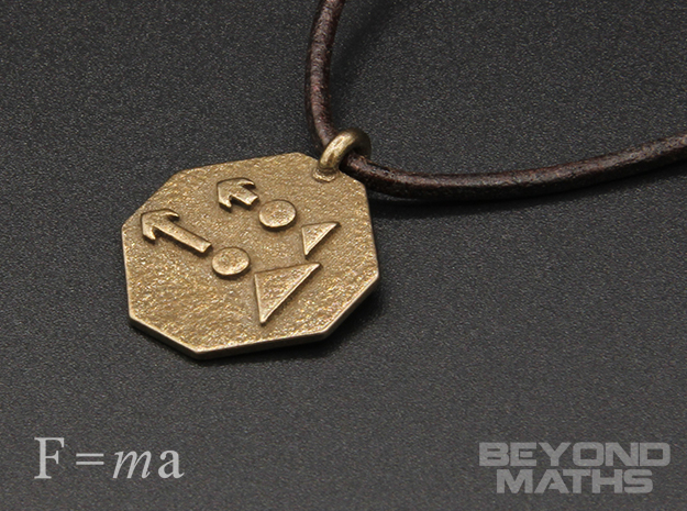 Pendant Newton's Second Law in Polished Bronze Steel
