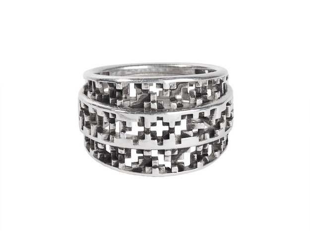 Tapered Pixel Ring in Polished Silver