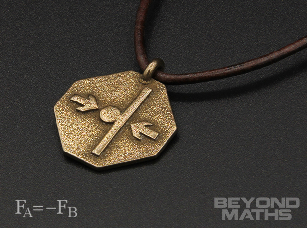 Pendant Newton's Third Law in Polished Bronze Steel