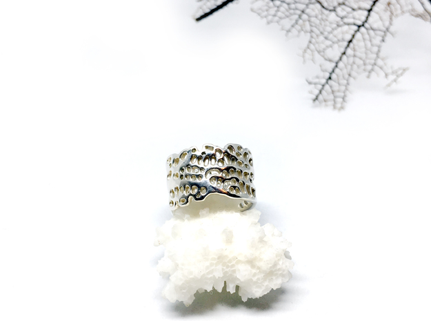 seafan ring in Polished Silver