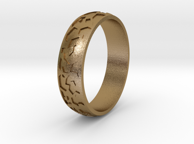 """Ring """"Ornament 2"""" in Polished Gold Steel"""
