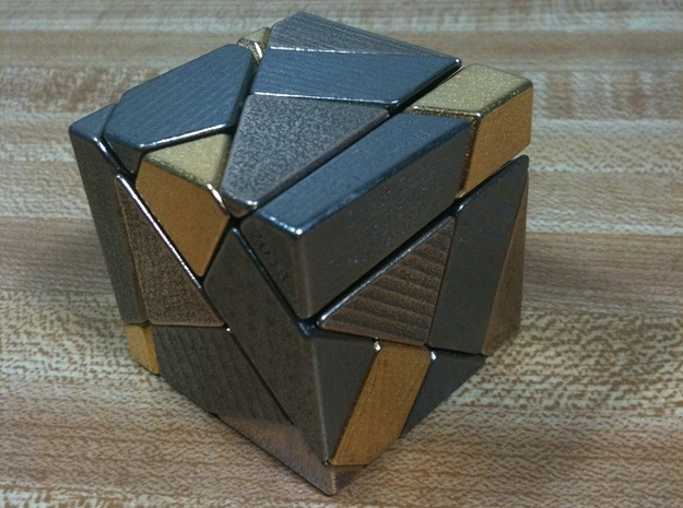 Heavy Metal! Ghost Cube (For Sale) 3d printed Metal Ghost Cube shown in Polished Nickel, Polished Bronze, and Polished Gold finish