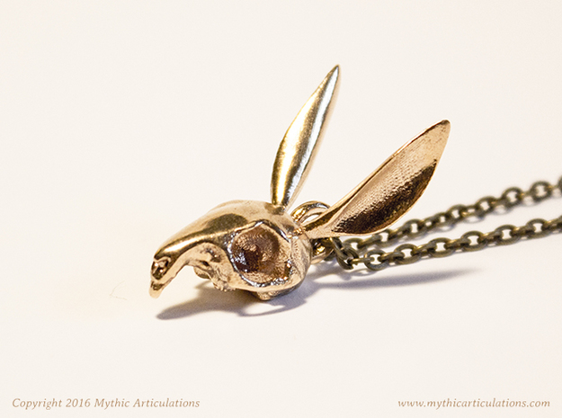 Easter Bunny Skull Pendant in Raw Bronze