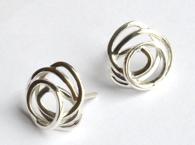 Wind Element Earring in Polished Silver