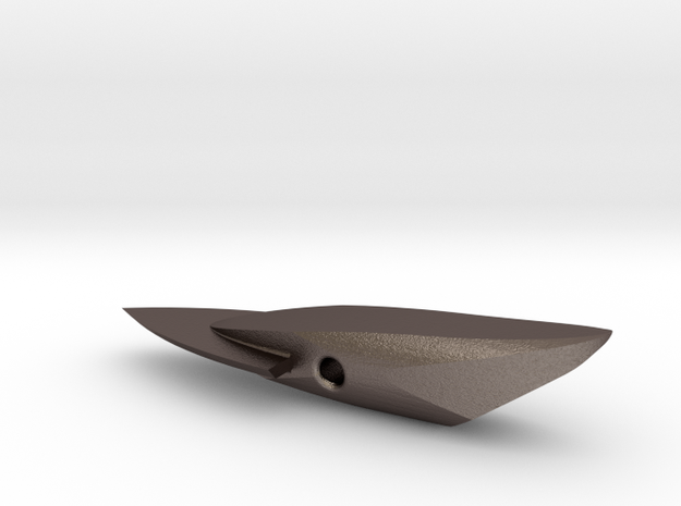 HARPOON TIP 7 FIXED BLADE SINGLE SLANT in Polished Bronzed Silver Steel