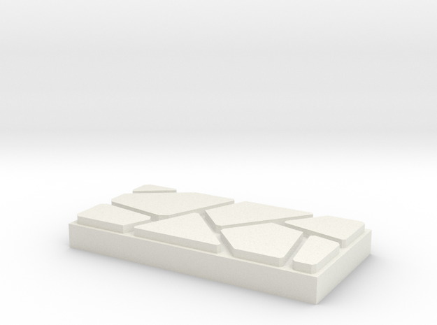Dungeon Brix Floor Tile 1 X 2 V2 in White Natural Versatile Plastic