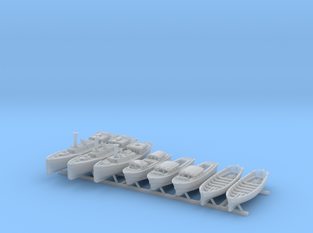 1/500 WW2 RN Boat Set 4 Without Mounts in Smooth Fine Detail Plastic