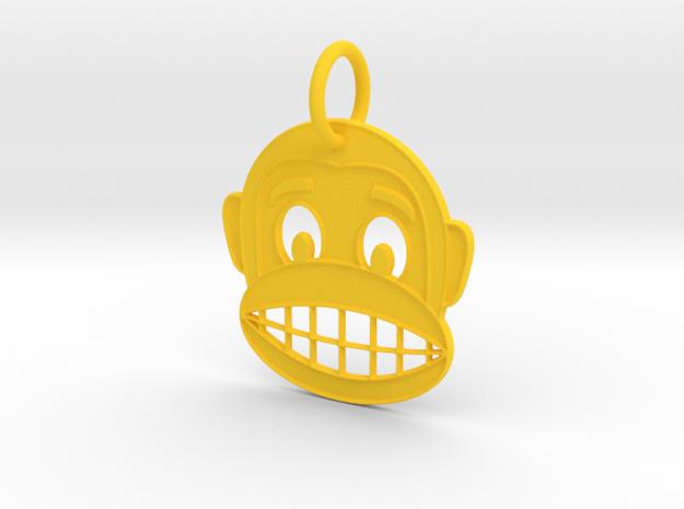 Happy Monkey Keychain in Yellow Processed Versatile Plastic