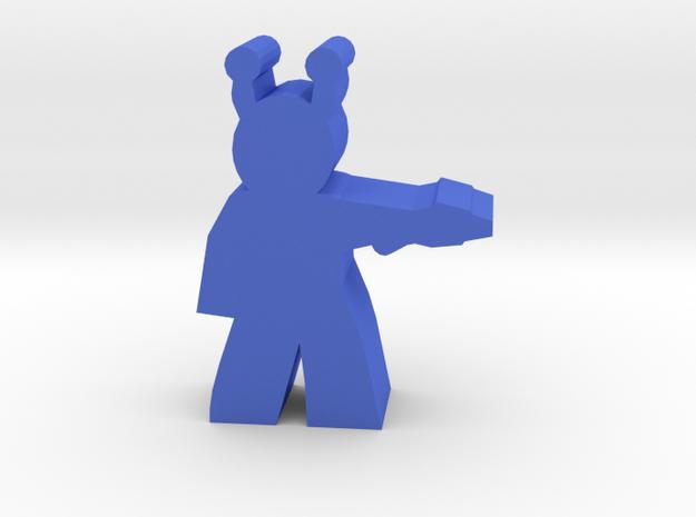 Game Piece, Blue-skin Alien Officer, with pistol in Blue Processed Versatile Plastic
