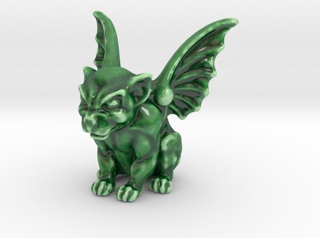 Cute Dog-like Gargoyle Statue in Gloss Oribe Green Porcelain