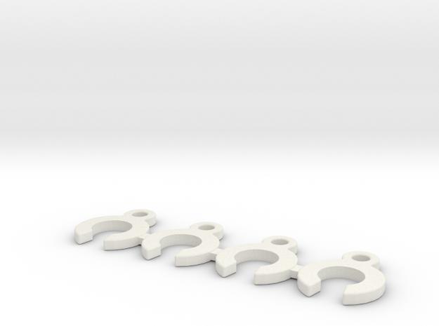 CRC WTF-1 Caster Clip Set in White Natural Versatile Plastic