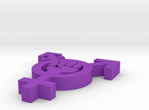 Feminism Symbol With Fist in Purple Processed Versatile Plastic