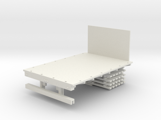 Stake Bed Truck Solid Bed 1-64 Scale   in White Natural Versatile Plastic