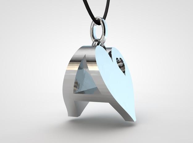 Heart Pendant Letter Big A 3d printed heart pendant 1