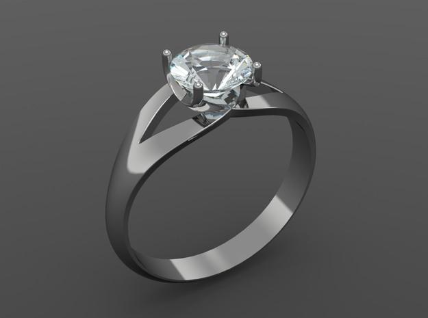 Solitaire Ring in Premium Silver