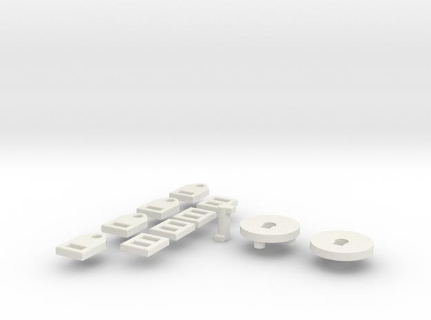 1:6 scale 4 point Seatbelt in White Natural Versatile Plastic