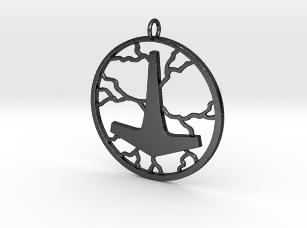 Thor's hammer thunder in Polished Grey Steel