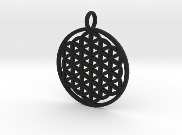 Flower Of Life Pendant in Black Natural Versatile Plastic