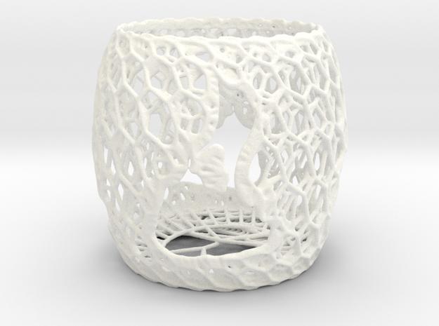 3D Printed Block Island Tea Light 3 in White Processed Versatile Plastic