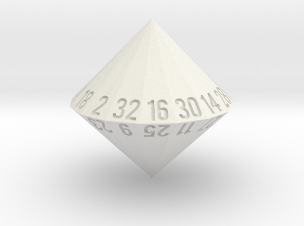 d32 (32-sided die) in White Natural Versatile Plastic: Medium
