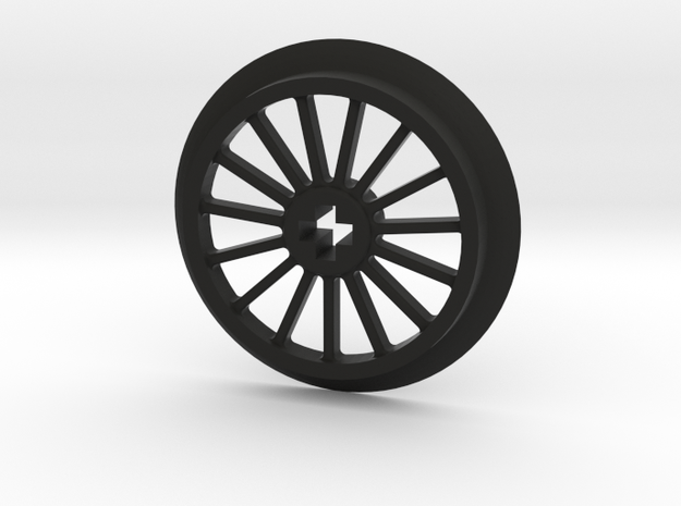Medlium-Large Thin Train Wheel in Black Natural Versatile Plastic