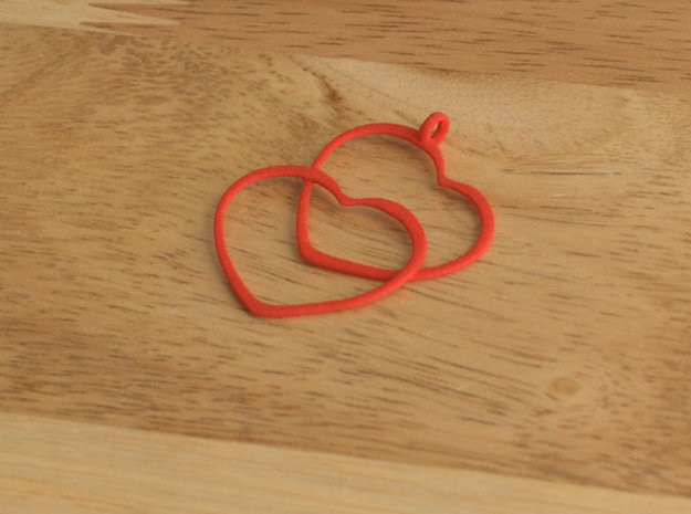 2 Hearts necklace pendant in Red Processed Versatile Plastic