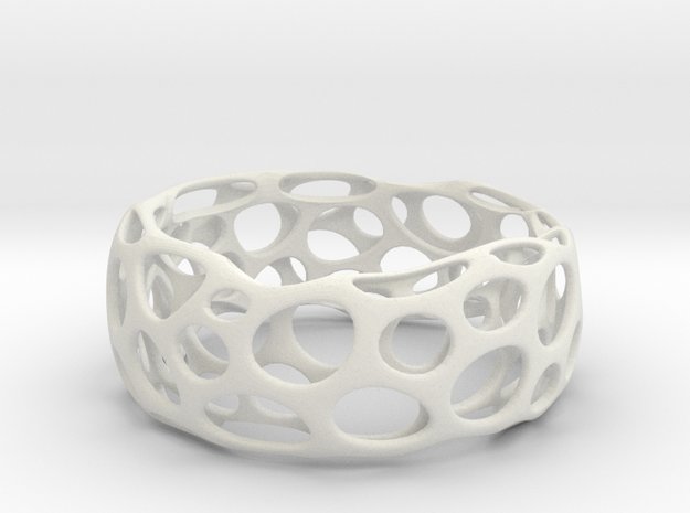 Convex Bracelet  in White Natural Versatile Plastic